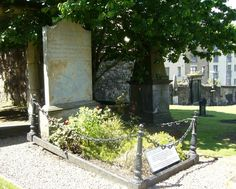 """Robert Fergusson (1750-1774) - Scottish Poet. Grave Site. Canongate Kirkyard, Edinburgh, Scotland. The Grave Stone was Purchased and Erected by Robert Burns who Greatly Admired Fergusson, his """"Brother in the Muse""""."""