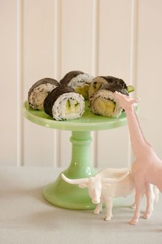 Veggie sushi. One of our regular rotation meals. We like to add cream cheese to our veggie rolls.
