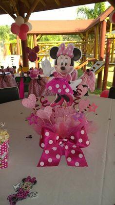 Minnie Mouse pink centerpiece, party decoration, birthday centerpiece, Minie mouse centerpiece inspirated, 4 centerpiece