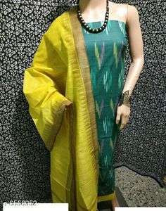 Checkout this latest Suits Product Name: *Attractive Khadi Cotton Suit* Top Fabric: Cotton + Top Length: 2.5 Meters Bottom Fabric: Khadi Cotton + Bottom Length: 2.5 Meters Dupatta Fabric: Khadi Silk + Dupatta Length: 2.25 Meters Lining Fabric: No Lining Type: Un Stitched Pattern: Printed Multipack: Single Easy Returns Available In Case Of Any Issue   Catalog Rating: ★4 (632)  Catalog Name: Ikat Printed Cotton Suits & Dress Materials (Single Pack) CatalogID_1044975 C74-SC1002 Code: 405-6558952-