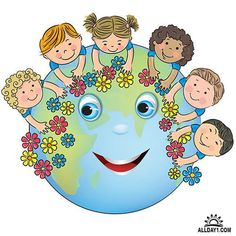 Illustration about Children hugging planet Earth. Contains transparent objects. Illustration of flower, couple, braids - 40648701 Happy Children's Day, Happy Kids, First Day Of School, Pre School, Art For Kids, Crafts For Kids, Earth Day Crafts, School Murals, Save Our Earth