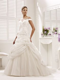 Kind of what my dress looks like -->Off The Shoulder Pleated Taffeta Over Tulle Princess Wedding Gown