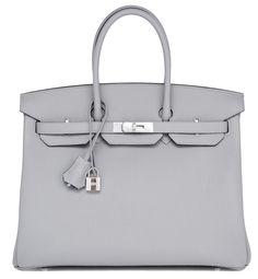 #Hermes #Birkin #Bag Gris Mouette Blue Agate Verso Palladium Hardware