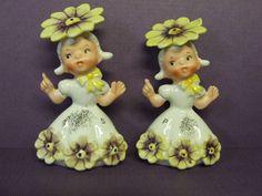 Vintage Napco Birth Month April Flower Girls Salt Pepper Set 1c 3025 Japan | eBay