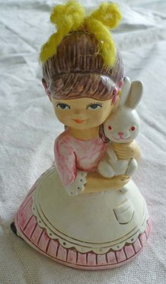 Vintage Josef Figurine - Girl With Bunny - 1960s - 1970s  Childs Room Kitsch