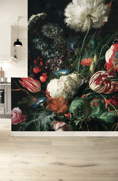 HUGE golden age flowers I mural For entry wall.