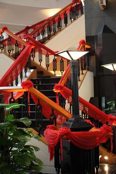 Stairs Decorated in Red by Apricot Cafe, via Flickr