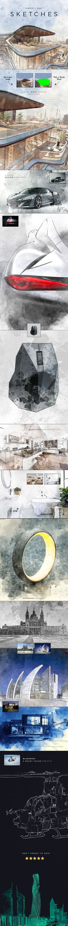 Sketches & Concepts | Creative Professional Effect — Photoshop ATN #blueprint #sketch • Download ➝ https://graphicriver.net/item/sketches-concepts-creative-professional-effect/21439940?ref=pxcr