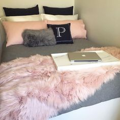 Pink, white and grey girl's bedroom; bedroom ideas for teens; bright rose gold bedroom designs bedroomideasforsmallrooms is part of Bedroom decor inspiration - Pastel Bedroom, Teen Bedroom, Modern Bedroom, Bedroom Colors, Bedroom Bed, Bedroom Themes, Bedroom Inspo, Bedroom Inspiration, Pastel Room Decor