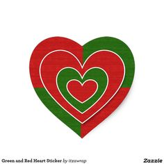 Green and Red Heart Sticker