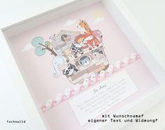 Weiteres - Arche Noah Kunstdruck Geschenk Geburt Taufe rosa - ein Designerstück von fuchswild bei DaWanda