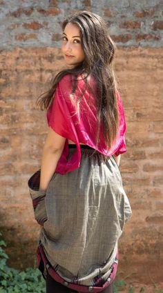 Iselda top, satin silk. Harima ikat skirt, cotton.