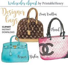 Chic, stylish, Louis Vuitton, Chanel and Hermes - Birken designer handbag clip art. Use these watercolor fashion illustrations to create your own art prints, invitations, tee-shirt prints, and graphic designs. Click to read more, or pin for later. #PrintableHenry
