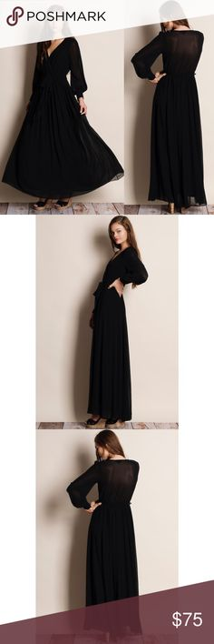Pandora Chiffon Balloon Sleeve Maxi Dress Chiffon maxi dress with balloon sleeves. Available in black, mustard and pink. This listing is for the BLACK. Bare Anthology Dresses Maxi