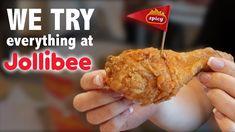 WE TRY EVERYTHING AT JOLLIBEE (MUKBANG) - YouTube Jollibee, Junk Food, Everything, Make It Yourself, Breakfast, Youtube, Youtubers