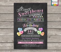 PRINTABLE Valentine's Sweetheart Birthday Invite  by PartySparkle