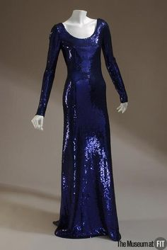 Great sillouette.  Nice deep blue.  Dress Halston, 1972  The Museum at FIT  #blue