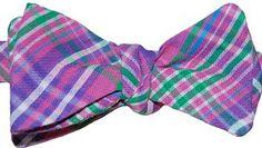 Bow Tie Logic Purple Spring Plaid Seer Sucker Cotton Fabric Self Tie Bow Tie | BowTielogic.com  $40 Tie Bow, Pink Pants, Bright Colors, Cotton Fabric, Men's Fashion, Bows, Plaid, Purple, Spring