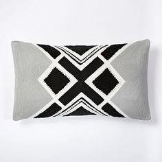 Crewel Crisscross Linework Pillow Cover - Black #westelm