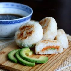 japanese pan fried rice balls with sweet potato and avocado filling + homemade dipping sauce.
