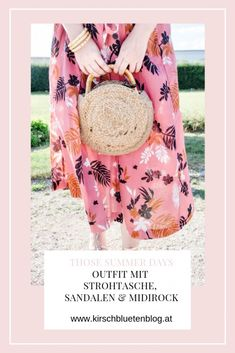 Outfit Last Summer Days - Midirock aus Leinen, mit Strohtasche, Bambus und gold Sandalen. Rock, Pastel Pink, Pink Flowers, Summer, Outfits, Bamboo, Linen Fabric, Sandals, Bags