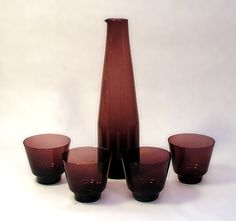 """Timo Sarpaneva for Iittala, Finland """"I-glass"""" decanter set with 4 glasses in plum. Decanter engraved """"T. Glass height 2 Height 10 ( items by Timo SarpanevaMore Iittala My Glass, Glass Collection, Wabi Sabi, Decanter, Finland, Planter Pots, Amethyst, Vase, Everything"""
