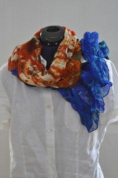 Silk Shibori Scarf - Hand Dyed Silk Scarf - Blue Orange - Silk Chiffon - Gift for Her by WhatJennyMakes on Etsy Chiffon Scarf, Silk Chiffon, Dyed Silk, White Silk, Shibori, Blue Orange, Gifts For Her, Pure Products, Etsy
