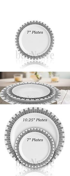 buynsave white with silevr heavyweight plastic elegant disposable plates wedding party elegant dinnerware ornament