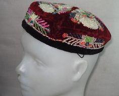Antique UZBEK Folk Hat Skull Cap Glass Beads Embroidery   eBay