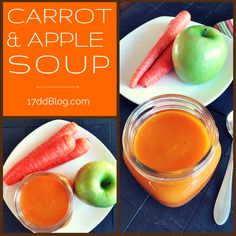 Enjoy your veggies and fruit inside this decadent, but easy-to-make soup!  Carrot & Apple soup is the perfect lunch for your 17 Day Diet weight loss plan! Pin for recipe http://17ddblog.com/carrot-apple-soup/