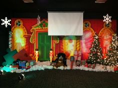 Check out this great set for Professor Playtime's Christmas Shop of Wonders created by the children's ministry at Hope Community Church Moorestown! Christmas Concert, Christmas Shopping, Bible Tools, Kids Ministry, Stage Set, Kids Church, Kfc, Set Design, Sunday School