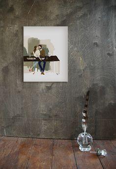 Sitting pair art print by Ferme A Papier $23