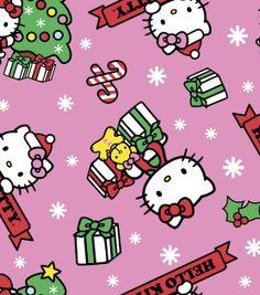 @ Joann's - Licensed Holiday Fabric-Hello Kitty Christmas Flc, , hi-res