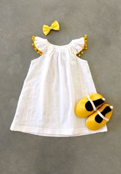 Handmade Organic Pompom Dress by Sunny Afternoon on Etsy - semi formal dresses, womans dress, floor length dresses *ad Baby Outfits, Little Girl Dresses, Girls Dresses, Formal Dresses, Evening Dresses, Baby Girl Fashion, Kids Fashion, Kids Frocks, Baby Kids Clothes