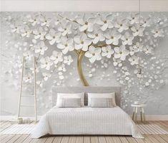 Custom Wallpaper 3D Embossed White Flowers Tree Wallpaper Wall Mural Creative Unique Embossed 3D eff