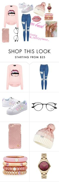 """Im back"" by stay-true-loyal on Polyvore featuring Markus Lupfer, Topshop, adidas Originals, Ray-Ban, Tory Burch, Superdry, Adolfo Courrier, Karl Lagerfeld and Lime Crime"