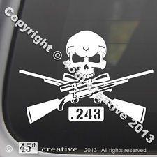 .243 Rifle Crossbones Decal - deer hog coyote hunting rifle scope skull sticker