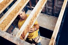 I-Joists: Engineered wood joists were invented in the U.S.A. Even though they're up to 60 percent lighter than sawn lumber of the same size, they're just as stiff and won't bow, shrink, twist, or split. | http://www.weyerhaeuser.com/