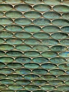 Elliptical tiles the colour of patinated copper by I-wish-I-knew-who. Wall Patterns, Textures Patterns, Mosaic Tiles, Wall Tiles, Glass Tiles, Motifs Textiles, Wall Treatments, Tile Design, Shades Of Green