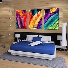 Op gespannen doek kunst Still Life Kleurrijke Veren Set van 3 – EUR € 63.63