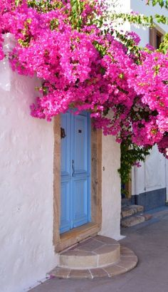 Blue door in Patmos, Greece.