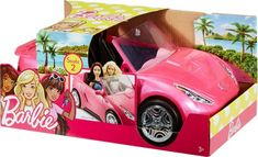Hit the open road with the Barbie convertible! The two-seater car is designed in sparkly pink with the Barbie silhouette as hood ornament Realistically designed wheels really roll for driving play Barbie Car, Barbie Doll Set, Doll Clothes Barbie, Mattel Barbie, Barbie Puppy, Minnie Mouse Toys, Dolls Prams, Barbie Dream House, Little Girl Outfits