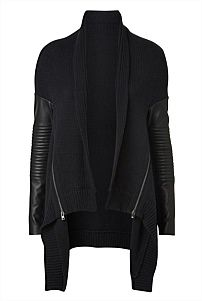 Leather Sleeve Biker Cardigan | witchery