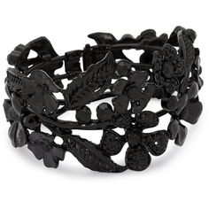 Statement Floral Black Hinged Bangle ($24) ❤ liked on Polyvore