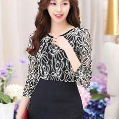 Roupa nova chegada mulheres elegante do Vintage feminino camisa Plus Size manga comprida Lace Chiffon blusa(China (Mainland))