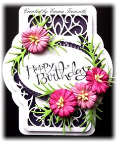 Pink & Purple floral birthday card, Sue Wilson French provence die set, Stampin up sassy sentiment