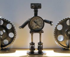 Upcycled Welded Metal Robot Sculpture with Gauge as by TabDesign