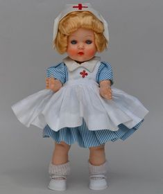"Stunning 1950s Miss Rosebud Nurse Doll Made In England 8"" HP Ginny Muffie Pal #Dolls"