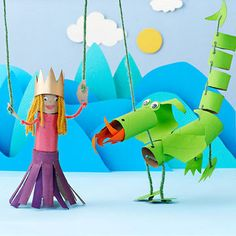 Kids can transform painted cardboard tubes into dragon and princess puppets using simply a hole punch, yarn, and sticks from the yard.