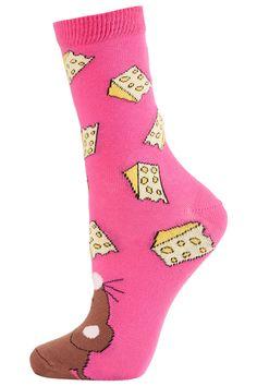 Hot Pink Mouse Toe Ankle Socks - Topshop